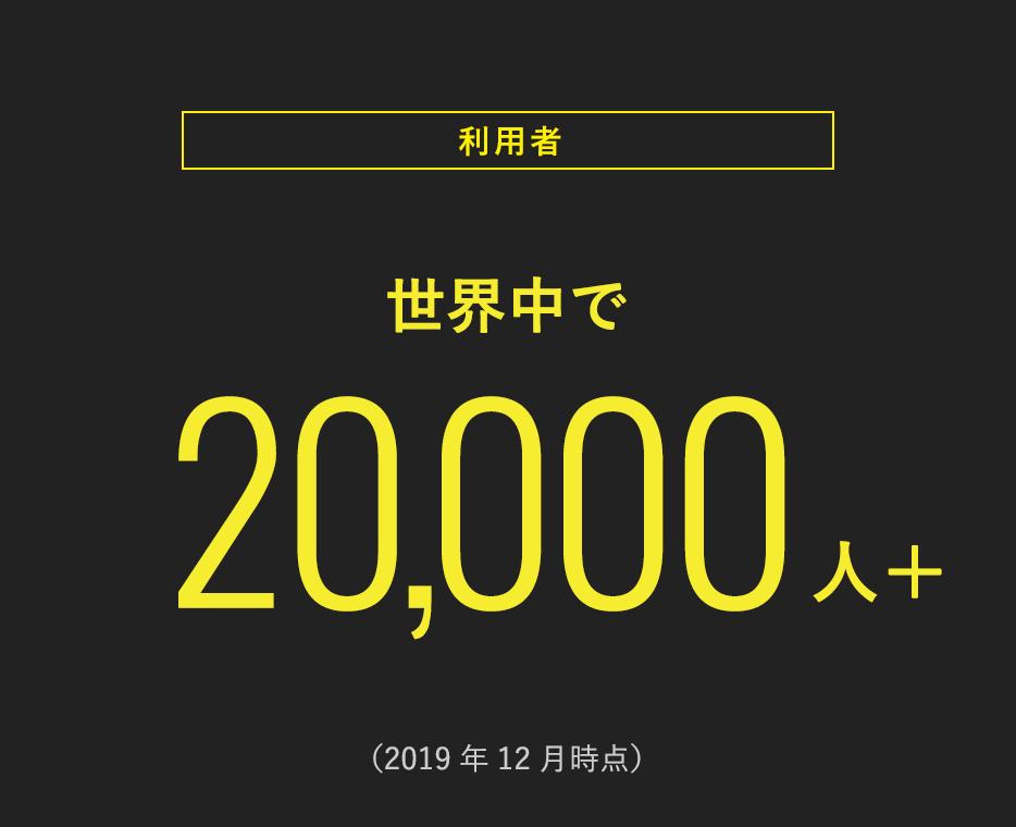 <利用者> 世界中で20,000人+ (2019年12月時点)