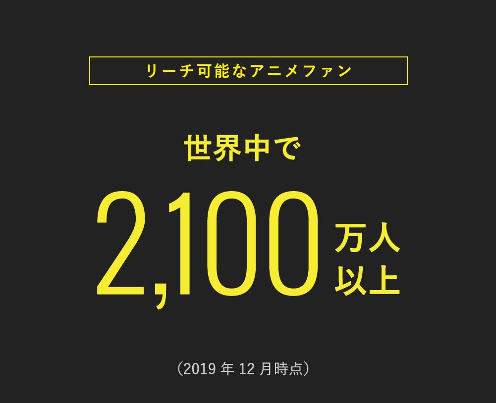 <リーチ可能なアニメファン> 世界中で2,100万人以上 (2019年12月時点)